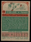 1973 Topps #76  Stan Love  Back Thumbnail