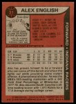 1979 Topps #31  Alex English  Back Thumbnail