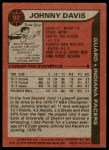 1979 Topps #92  Johnny Davis  Back Thumbnail