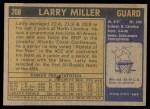 1971 Topps #208  Larry Miller  Back Thumbnail