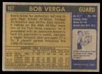 1971 Topps #167  Bob Verga  Back Thumbnail