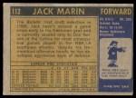 1971 Topps #112  Jack Marin  Back Thumbnail