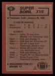 1983 Topps #12   Super Bowl XVII Back Thumbnail