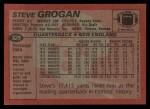 1983 Topps #329  Steve Grogan  Back Thumbnail