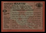 1983 Topps #50  Harvey Martin  Back Thumbnail