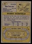 1974 Topps #41  Bobby Howfield  Back Thumbnail