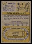 1974 Topps #43 ONE Don McCauley  Back Thumbnail