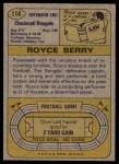 1974 Topps #114  Royce Berry  Back Thumbnail