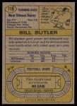 1974 Topps #118  Bill Butler  Back Thumbnail