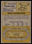 1974 Topps #21 ONE Ben Hawkins  Back Thumbnail