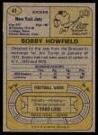 1974 Topps #41  Bobby Howfield  Back Thumbnail