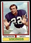 1974 Topps #82  Paul Krause  Front Thumbnail
