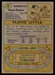 1974 Topps #10  Floyd Little  Back Thumbnail