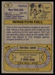1974 Topps #15 ONE Winston Hill  Back Thumbnail