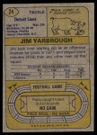 1974 Topps #24 ONE Jim Yarbrough  Back Thumbnail