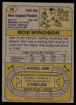 1974 Topps #49 ONE Bob Windsor  Back Thumbnail