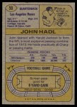 1974 Topps #50 ONE John Hadl  Back Thumbnail