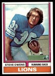 1974 Topps #52 ONE Steve Owens  Front Thumbnail