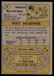 1974 Topps #74  Pat Hughes  Back Thumbnail