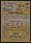 1974 Topps #75 ONE Fred Willis  Back Thumbnail