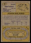 1974 Topps #80 ONE John Niland  Back Thumbnail