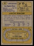 1974 Topps #83 ONE Jack Snow  Back Thumbnail