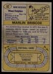 1974 Topps #92  Marlin Briscoe  Back Thumbnail