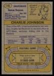 1974 Topps #116 ONE Charlie Johnson   Back Thumbnail