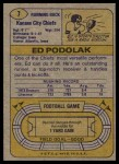 1974 Topps #7 ONE Ed Podolak  Back Thumbnail