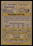 1974 Topps #11 ONE Frank Pitts  Back Thumbnail