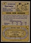 1974 Topps #12  Vern Den Herder  Back Thumbnail