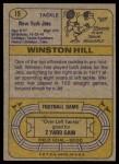 1974 Topps #15 ONE Winston Hill  Back Thumbnail