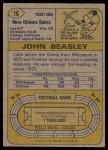 1974 Topps #16  John Beasley  Back Thumbnail