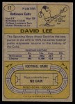 1974 Topps #17  David Lee  Back Thumbnail