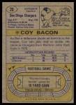 1974 Topps #20  Coy Bacon  Back Thumbnail