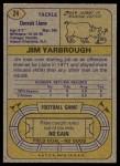 1974 Topps #24 ONE Jim Yarbrough  Back Thumbnail