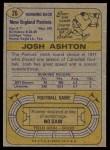 1974 Topps #26  Josh Ashton  Back Thumbnail