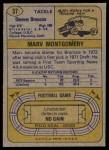1974 Topps #37  Marv Montgomery  Back Thumbnail