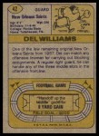 1974 Topps #42 ONE Del Williams  Back Thumbnail