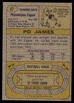 1974 Topps #47  Po James  Back Thumbnail