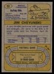 1974 Topps #53  Jim Cheyunski  Back Thumbnail