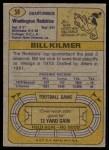 1974 Topps #58 ONE Billy Kilmer  Back Thumbnail