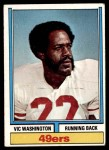 1974 Topps #62  Vic Washington  Front Thumbnail