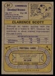 1974 Topps #64  Clarence Scott  Back Thumbnail