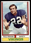 1974 Topps #82  Paul Krause  Front Thumbnail
