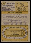 1974 Topps #83 ONE Jack Snow  Back Thumbnail