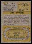 1974 Topps #85  Jim Tyrer  Back Thumbnail