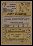 1974 Topps #112  Larry Stallings  Back Thumbnail