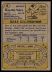 1974 Topps #115  Gale Gillingham  Back Thumbnail