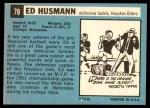 1964 Topps #76  Ed Husmann  Back Thumbnail